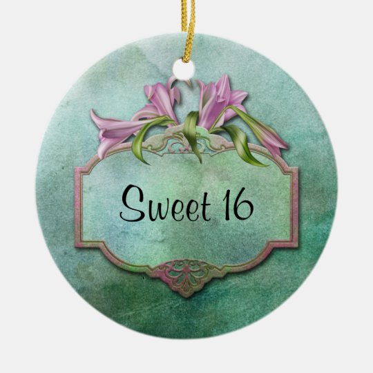 Ornment Pink Lilies Sweet 16 Ceramic Ornament