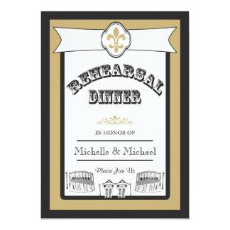 """Oro 1 del negro de la cena del ensayo del boda de invitación 5"""" x 7"""""""