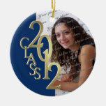 Oro 2012 y azul de la foto de la graduación de la  adorno de navidad