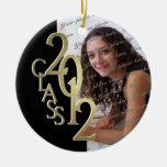 Oro 2012 y negro de la foto de la graduación de la ornamentos de reyes magos