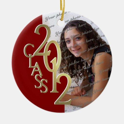 Oro 2012 y rojo de la foto de la graduación de la adorno navideño redondo de cerámica