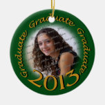 Oro 2013 del graduado y marco verde de la foto adorno de navidad