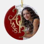 Oro 2013 y rojo de la foto de la graduación de la ornamento para reyes magos