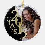 Oro 2015 de la foto de la graduación de la clase adorno navideño redondo de cerámica