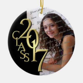 Oro 2017 y negro de la foto de la graduación de la adorno navideño redondo de cerámica
