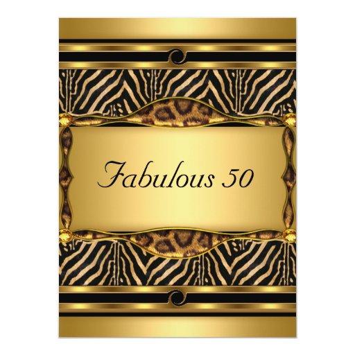 Oro 50 e invitación fabulosa de la fiesta de