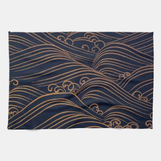 Oro abstracto Brown de los azules marinos de las Toalla