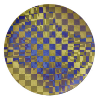Oro abstracto comprobado punk con el azul plato de cena