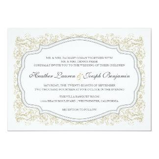 Oro adornado del vintage y invitación gris del invitación 12,7 x 17,8 cm
