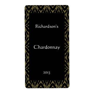 Oro adornado y etiqueta negra del vino etiqueta de envío