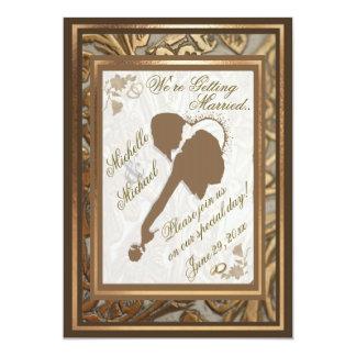 Oro adornado y invitación cariñosa #2 del boda de