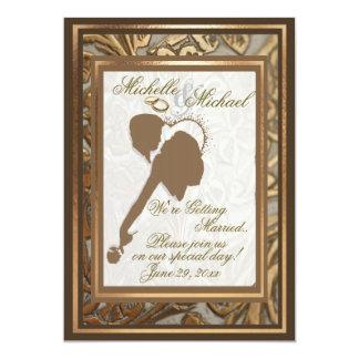 Oro adornado y invitación cariñosa #3 del boda de