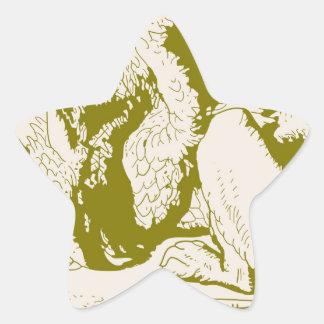 Oro Alicia de Gryphon en el país de las maravillas Pegatina En Forma De Estrella