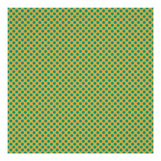 Oro amarillo con los lunares del verde esmeralda póster