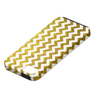 Oro amarillo de Chevron del brillo iPhone 5 Carcasa