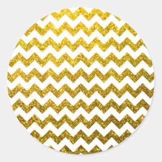Oro amarillo de Chevron del brillo Pegatina Redonda