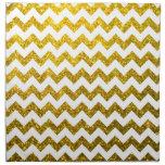 Oro amarillo de Chevron del brillo Servilleta Imprimida