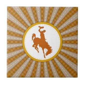 Oro amarillo del rodeo del vaquero azulejo cuadrado pequeño