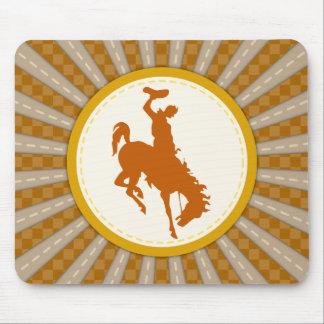 Oro amarillo del rodeo del vaquero tapete de ratón