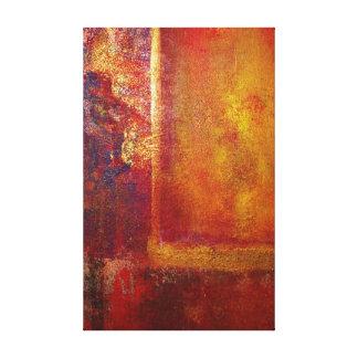 Oro amarillo del rojo anaranjado de los campos de impresión en lienzo
