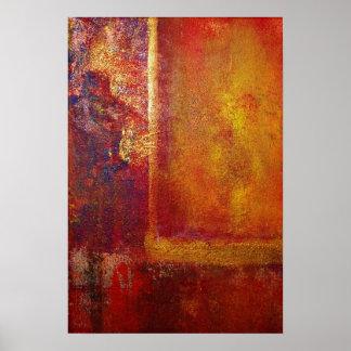 Oro amarillo del rojo anaranjado de los campos de  poster