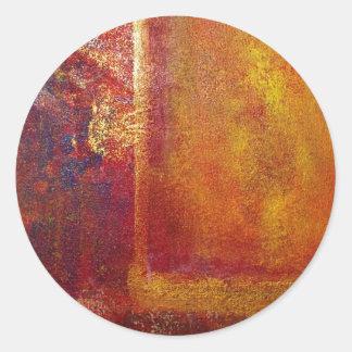 Oro amarillo del rojo anaranjado de los campos de pegatina redonda