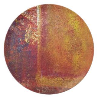 Oro amarillo del rojo anaranjado de los campos de  platos para fiestas