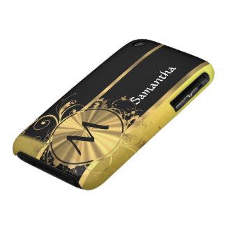 Oro amarillo personalizado y monograma negro Case-Mate iPhone 3 cárcasa