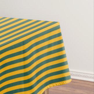 Oro amarillo y raya verde mantel de tela