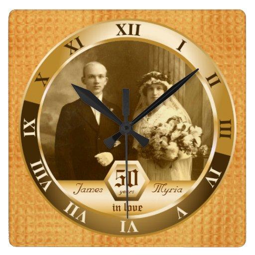 Oro ambarino de encargo de la foto del aniversario reloj cuadrado
