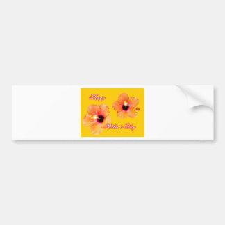 Oro anaranjado BG de madre del hibisco feliz del d Etiqueta De Parachoque