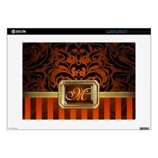 """Oro anaranjado lujoso 15"""" del damasco piel del ord calcomanías para 38,1cm portátiles"""