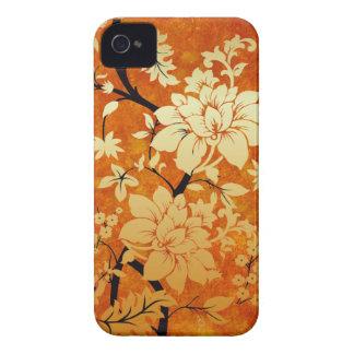 Oro anaranjado y estilo oriental floral negro iPhone 4 Case-Mate fundas