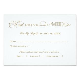 """Oro antiguo de la tarjeta de contestación del boda invitación 3.5"""" x 5"""""""