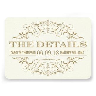 Oro antiguo de la tarjeta de detalles del boda el invitación