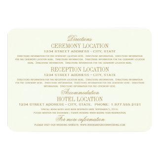 Oro antiguo de la tarjeta de detalles del boda el invitación 11,4 x 15,8 cm