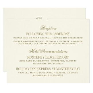 """Oro antiguo de la tarjeta de detalles del boda el invitación 4.25"""" x 5.5"""""""