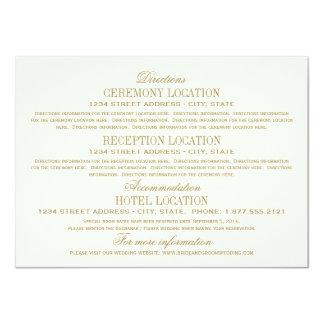 """Oro antiguo de la tarjeta de detalles del boda el invitación 4.5"""" x 6.25"""""""