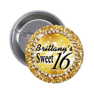 Oro atractivo brite de la celebración del dulce 16 pin redondo de 2 pulgadas
