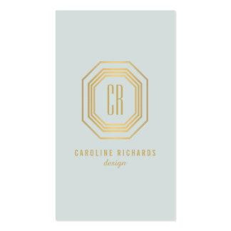 Oro atractivo del vintage/monograma pálido del art tarjetas de visita