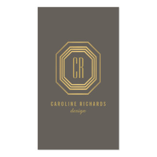 Oro atractivo/gris del monograma del art déco del tarjetas de visita