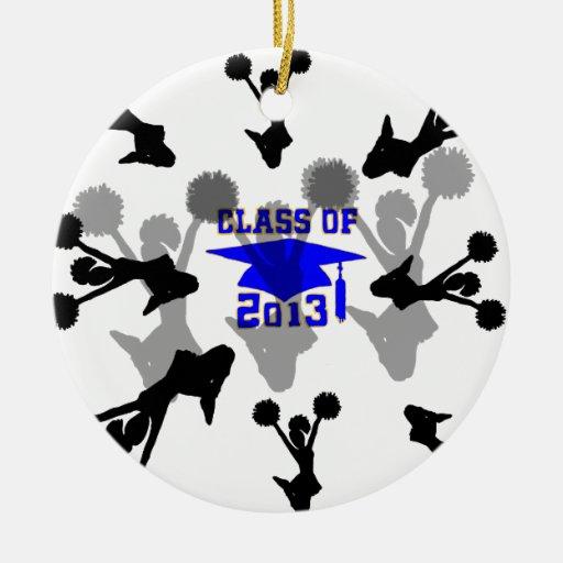 Oro azul claro 2013 de la animadora adorno navideño redondo de cerámica