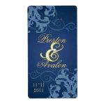 Oro azul del remolino Jeweled casando la etiqueta  Etiqueta De Envío