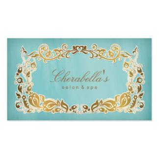 Oro azul floral de la tarjeta de visita del