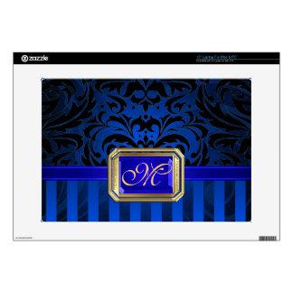"""Oro azul lujoso 15"""" del damasco piel del ordenador calcomanía para portátil"""