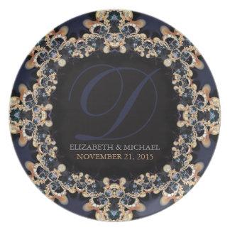 Oro azul Placa del regalo de boda de las gemas de Platos De Comidas