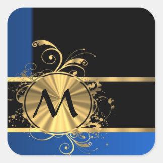 Oro azul y monograma negro pegatina cuadrada