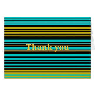 Oro azul y rayas negras de la aguamarina contempor tarjetas