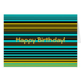 Oro azul y rayas negras de la aguamarina contempor tarjeta