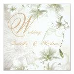 Oro beige elegante de las flores blancas del boda invitacion personalizada